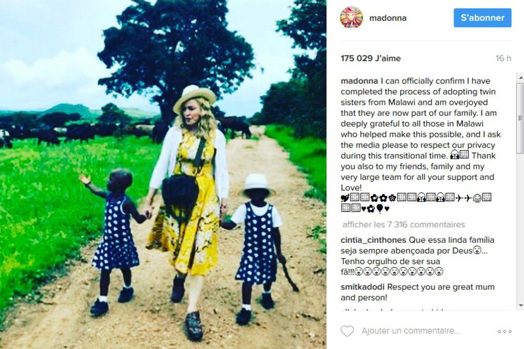 Quelles critiques ? Madonna fière de présenter ses jumelles adoptées au Malawi