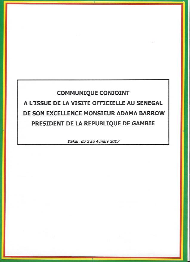 Communiqué conjoint signé par les Présidents Sall et Barrow