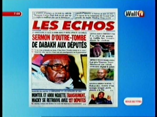 Revue de Presse WalfTv du Jeudi 14 Septembre 2017 en images